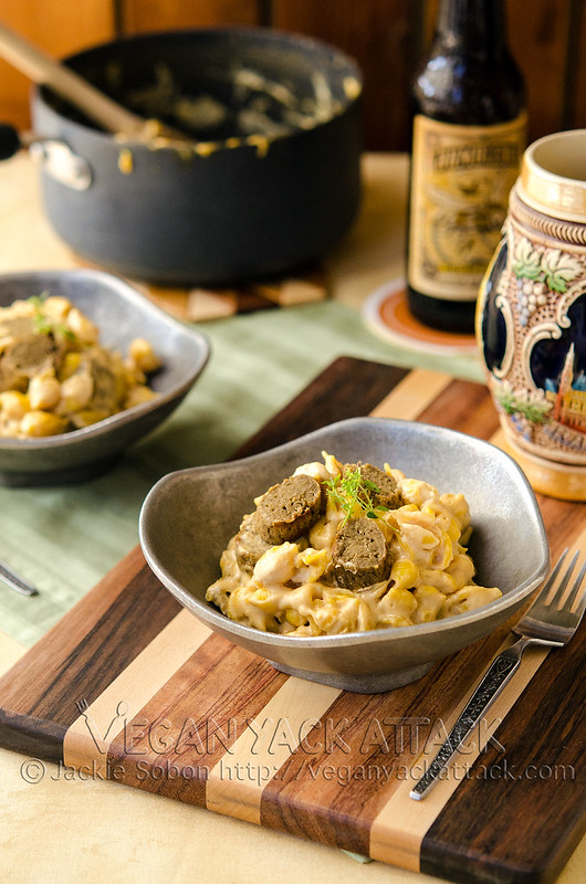 Beer & Brat Mac 'n' Cheese - A hearty, grown-up macaroni and cheese with a rich, beer sauce and delicious bratwurst. All vegan!