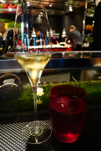 Starting the evening with some Champagne at L'Atelier de Joël Robuchon