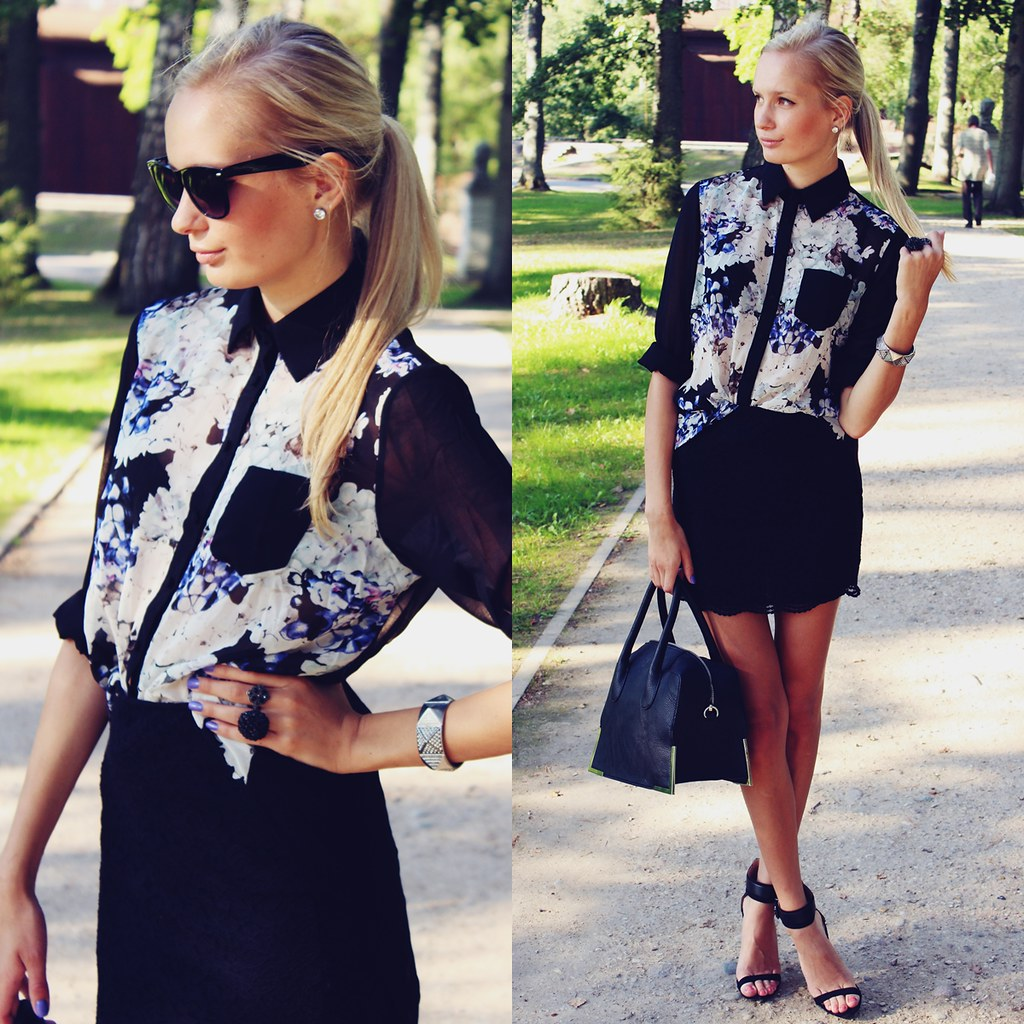 top seven outfits, top 7 outfits, fashion blog, fashion blogger, call me maddie, persunmall black floral blouse, elegant outfit, zara black heels, violet nail polish