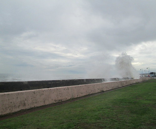 Waves over Kirkcaldy Promenade