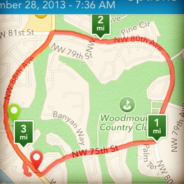 Our route this morning. Our time was around 47:30. The paper got cut off for the time print outs so I'm not 100% sure, but that's around what it was. Faster than our first race back in Sept! #5k #running #tamarac #turkeytrot #thanksgiving