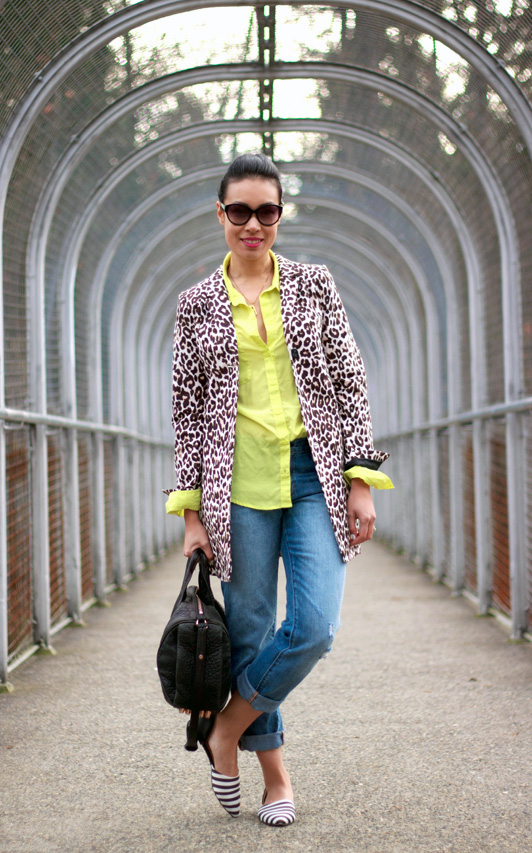 H&M leopard print coat, Old Navy chartreuse neon yellow blouse, Gap distressed boyfriend jeans, Ruche striped d'orsay flats, Marc by Marc Jacobs cat eye sunglasses, Alexander Wang rose gold Rocco bag, Vancouver fashion blogger, fall, winter