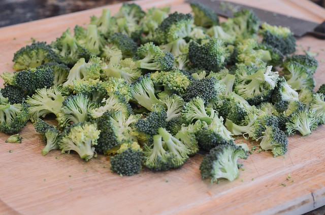 Chopped broccoli on a cutting board.