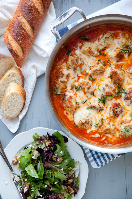 Baked Chicken Parmesan Meatballs in Tomato Cream Sauce