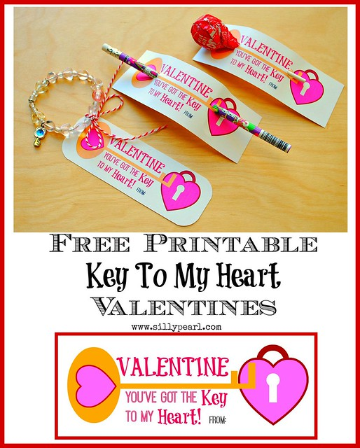 Key To My Heart Free Printable Valentines -- The Silly Pearl