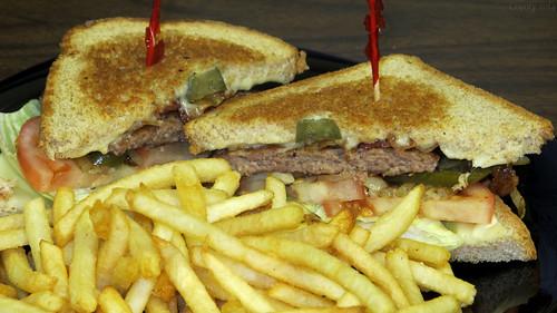 BLTOJ patty melt and fries by Coyoty