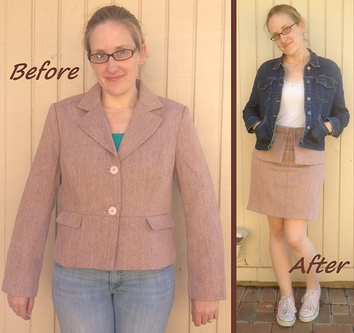 Tweed Peplum Skirt - Before & After