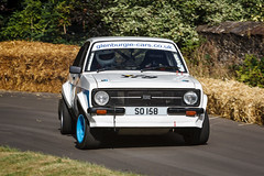 White 1979 Mark II Ford Escort - SO 158 - seen in action, correcting oversteer, going through the Courtyard bends, at the Bo'ness Speed Hill Climb, September 2013....
