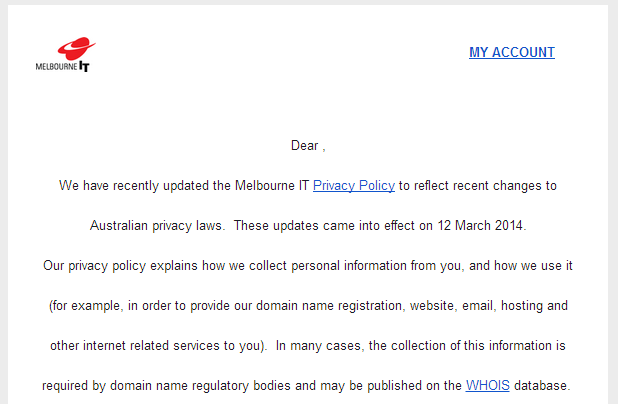 Melbourne IT: New privacy policy