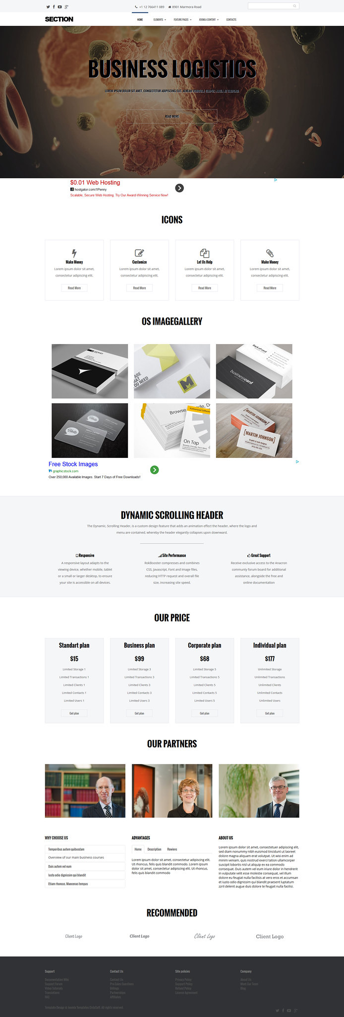 Section Joomla 3.x Free Template