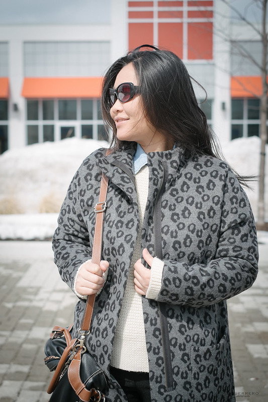 leopard coat chunky knit sweater chambray shirt