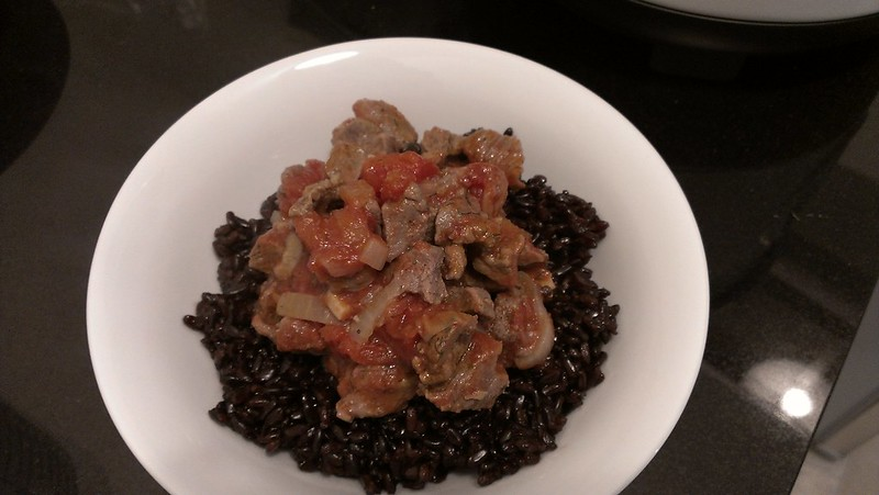 Black rice with lamb meat
