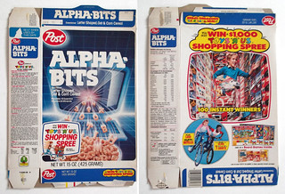 1986 Post Alpha-Bits Cereal Box Toys R Us General Foods