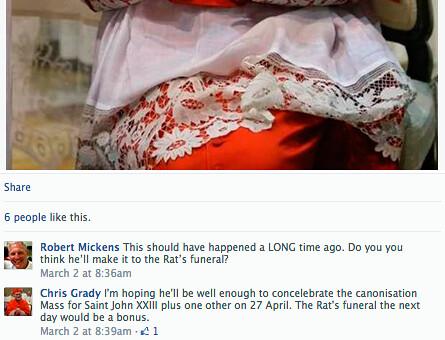 Corresponsal en Roma de The Tablet desea la pronta muerte de la «rata» Benedicto XVI