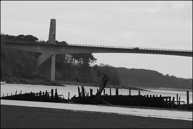 Cimetière de bateaux de Kerhervy à Lanester (Bretagne, Morbihan, France)