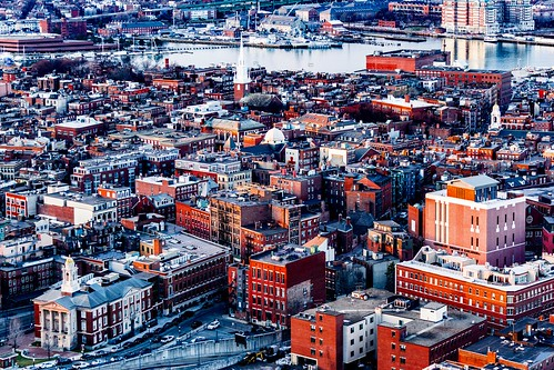boston massachusetts customhousetower rooftops view sony a6000 alpha northend goldenhour red orange telephoto 55210mm cityscape