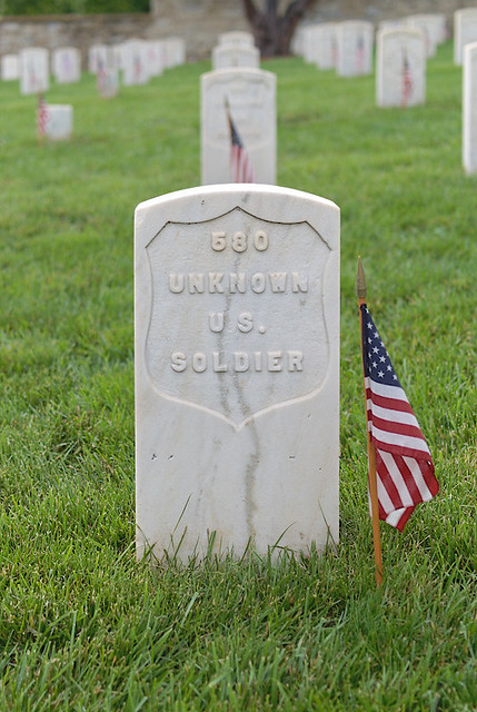 Jefferson City National Cemetery, in Jefferson City, Missouri, USA - tombstone of unknown soldier