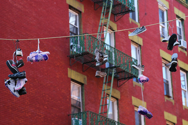 Shoefiti in Chinatown