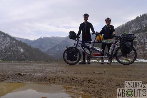 Tandem bicycle touring a dirt road in Georgia