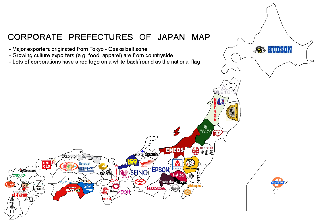 corporate prefecture of Japan map