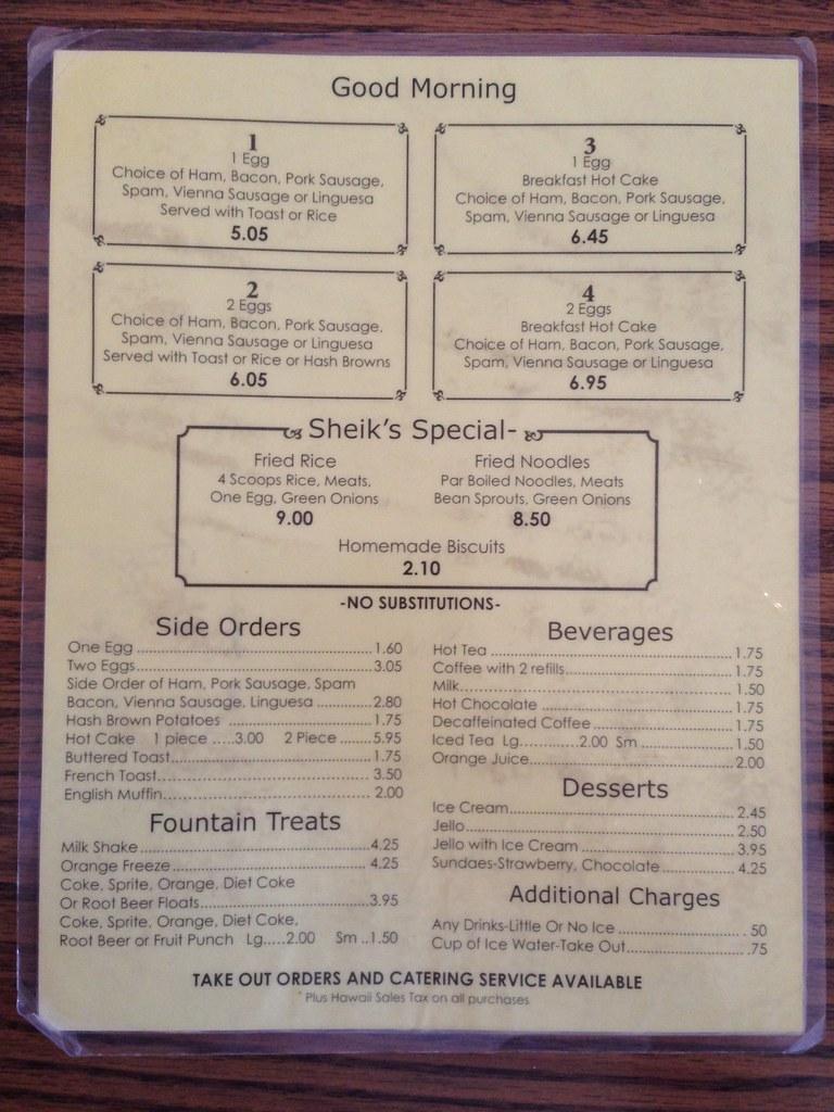 Sheiks Maui Restaurant Menu