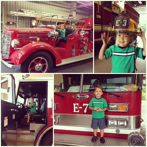 Aaron got to play fireman today!!