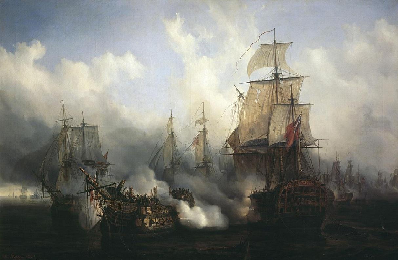 Batalla de Trafalgar. Obra de Auguste Mayer. 1836