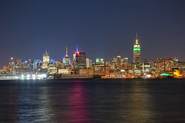The New York City skyline as seen from the pier in Hoboken, New Jersey at night