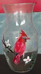 red, painting, glass, cardinal, bird,