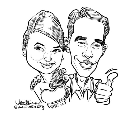 couple digital caricature sketch 03092013