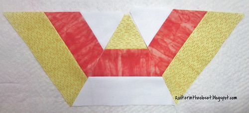 Candy corn half hexagon