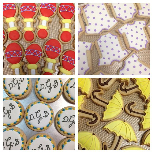 Rattle, onesie, umbrella, monogram cookies baby shower #polkadotscupcakefactory