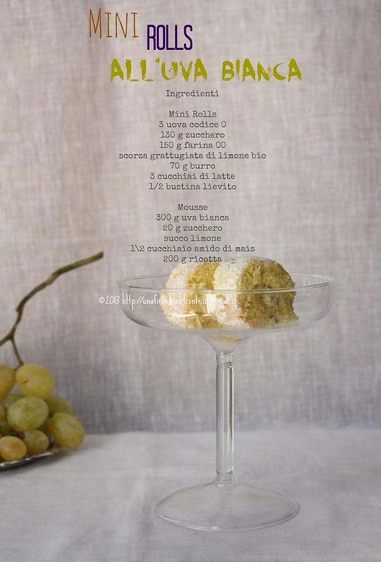 Mini rolls con mousse di ricotta e uva bianca