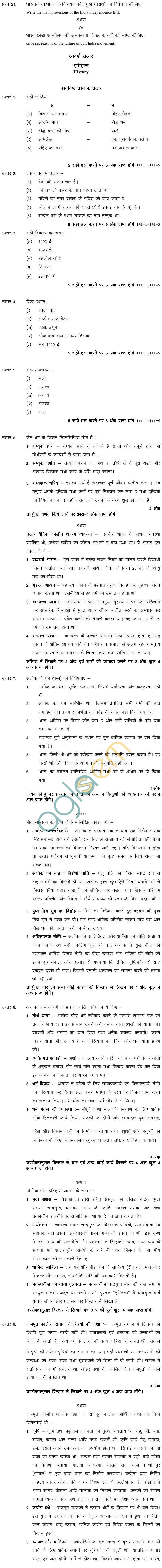 MP BoardClass XII History Model Questions & Answers -Set 2