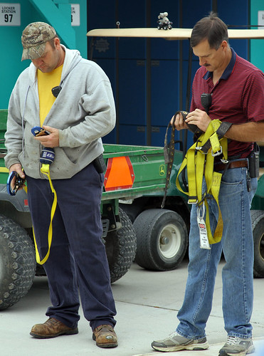Lee and Tony check their safety harnesses