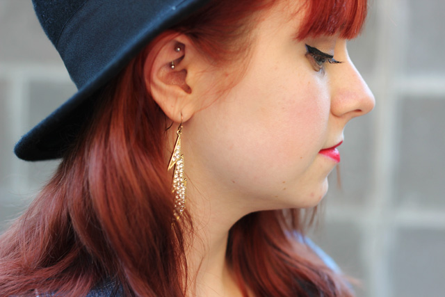Lightning Bolt Earrings & Rook Piercing