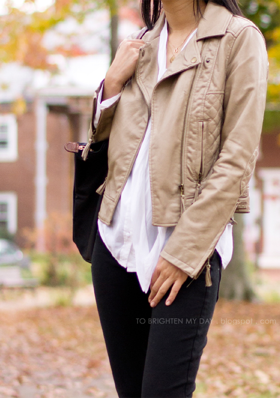 leather jacket, drapey blouse