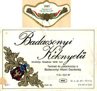 Hungary - Badacsonyi Keknyelu 1985