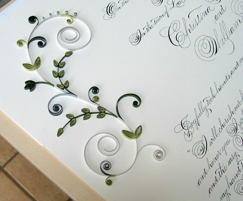 Quaker Marriage Certificate with Quilled Floral Scrolls