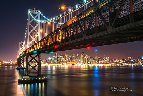 sanfrancisco california city skyline night silver stars landscape lights glow cityscape suspension coastal cables journey baybridge bayarea vista darvin bythebay atkeson darv liquidmoonlightcom