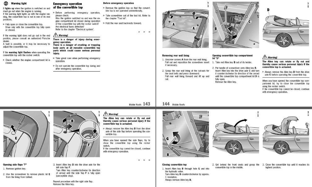 purely manual operation of 04 996 cabrio roof rennlist porsche rh rennlist com Porsche Boxster Engine Diagram Porsche Boxster Cdc-3 Manual