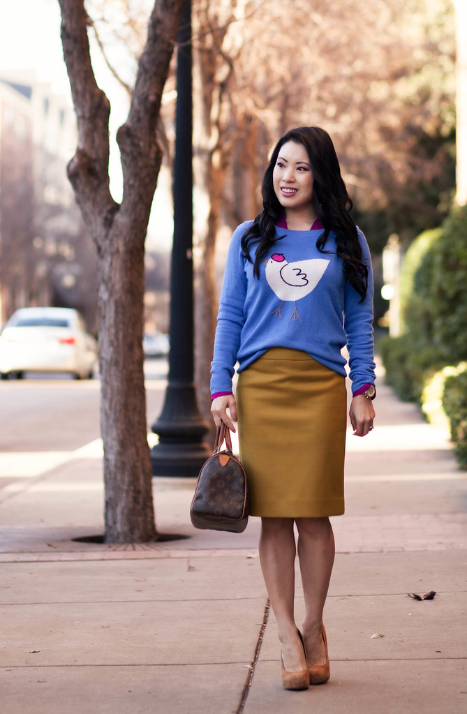 cute & little blog | j. crew french hen sweater, radiant orchid express portofino shirt, no. 2 mustard pencil skirt, louis vuitton speedy 25 outfit