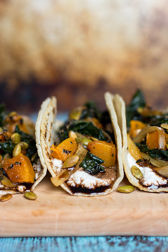 Pumpkin, charred onion & kale tacos