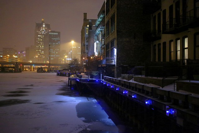 Snowing at Night on the Riverwalk, Third Ward