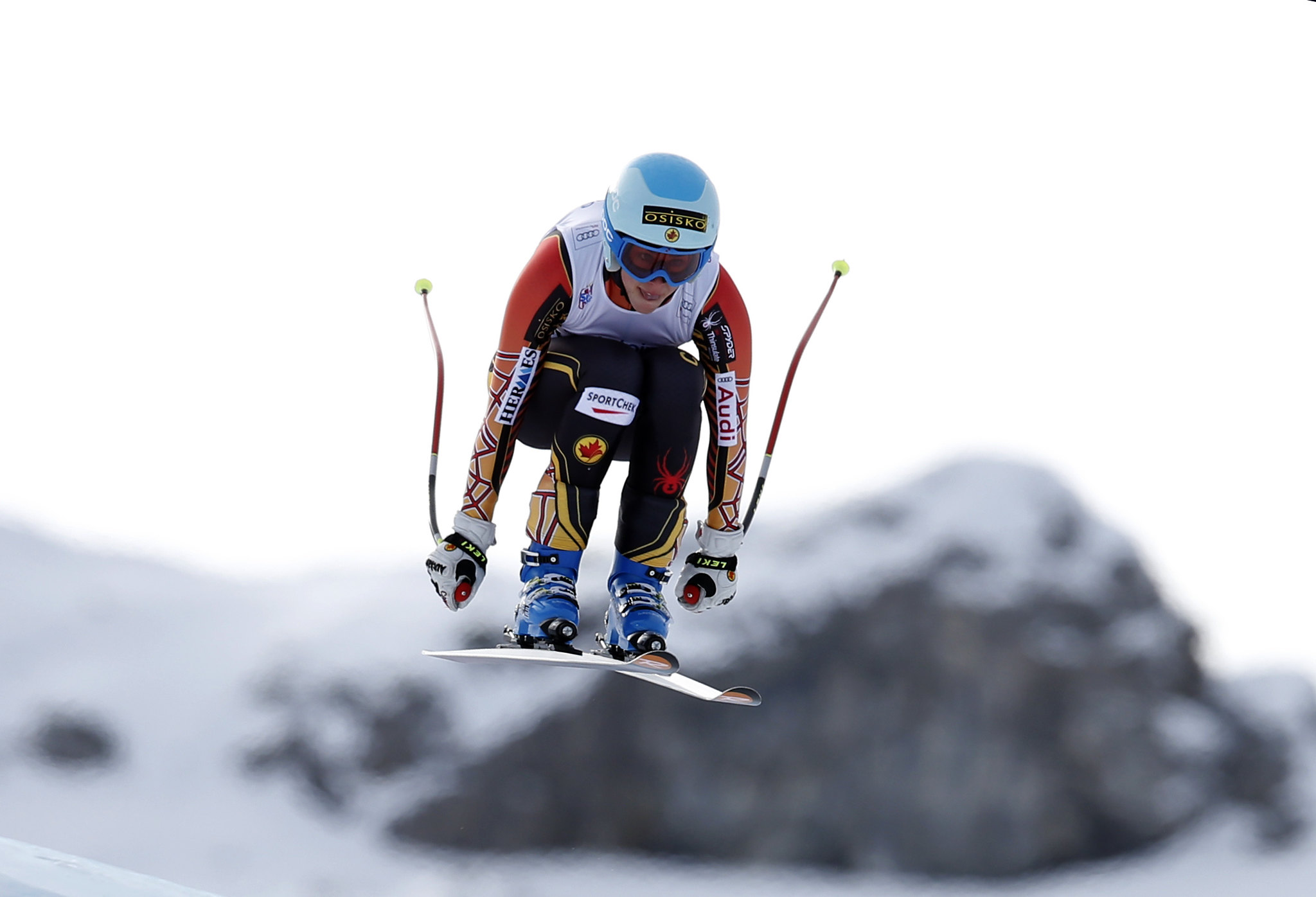 Gagnon takes flight during the downhill in Altenmarkt, AUT