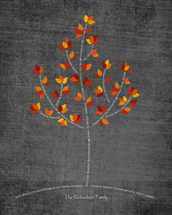 Family tree with names art dark gray white present day autumn leaves roots