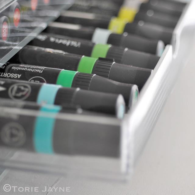 Organised marker pens