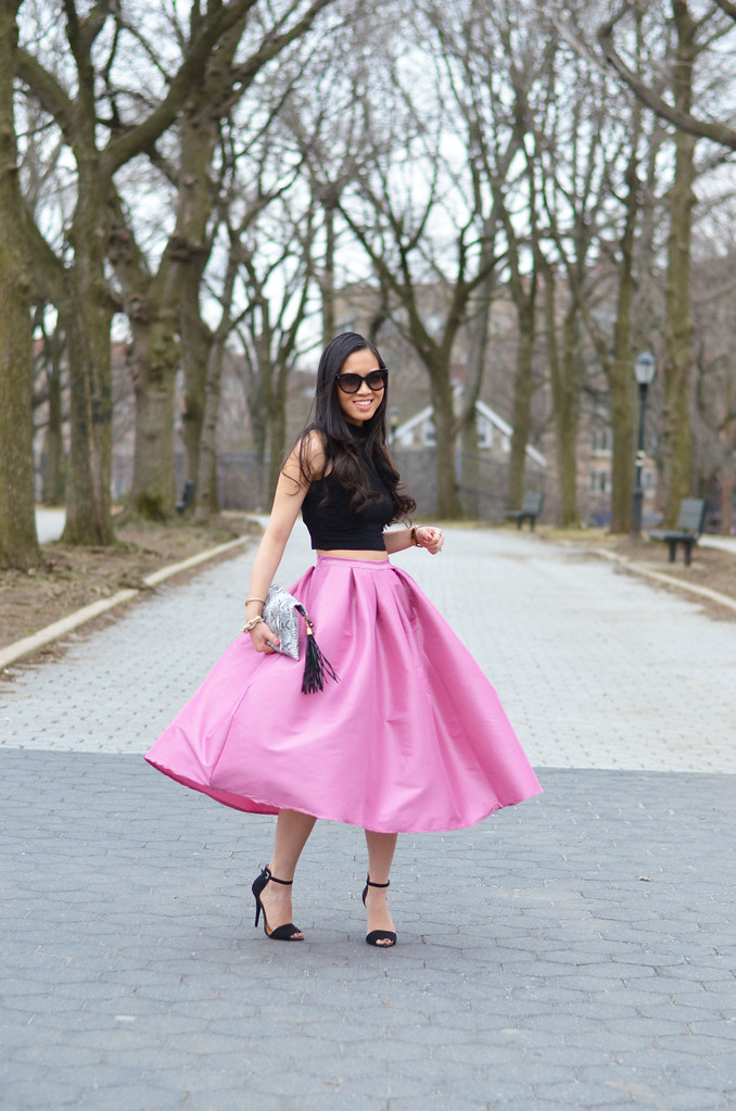 spring outfit: pink full flare midi skirt, crop top