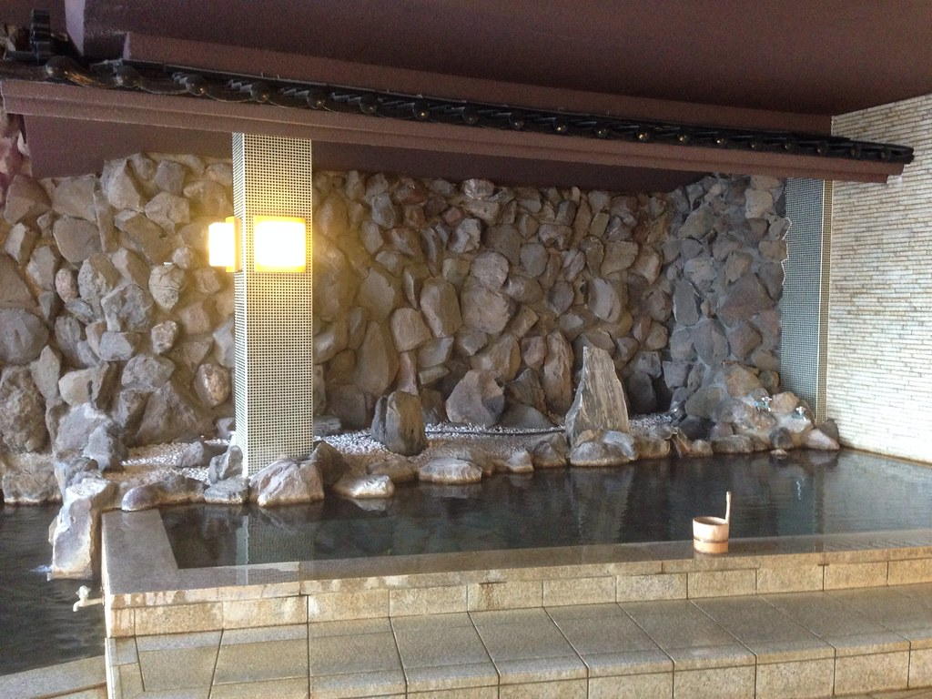 Rock wall in the onsen