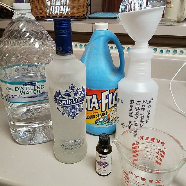 It's time to make #homemade spray starch! My preferred recipe is 1/4 cup liquid starch, 2 oz vodka, 10 drops of lavender and approximately 4 cups of distilled water. #spraystarch